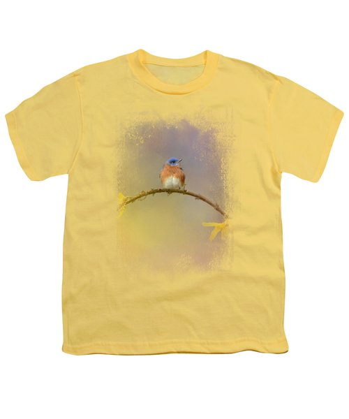 A Little Blue In The Garden Youth T-Shirt by Jai Johnson