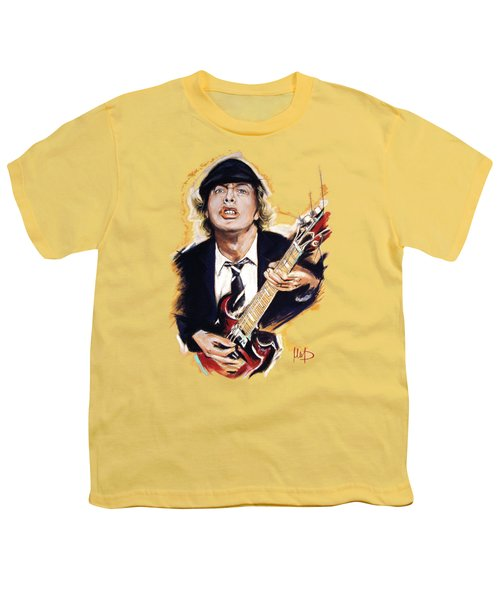 Angus Young Youth T-Shirt by Melanie D