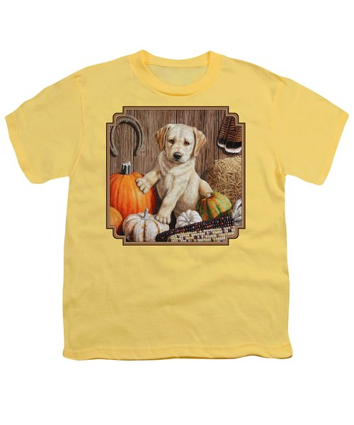 Pumpkin Puppy Youth T-Shirt by Crista Forest