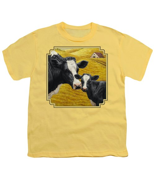 Holstein Cow And Calf Farm Youth T-Shirt by Crista Forest