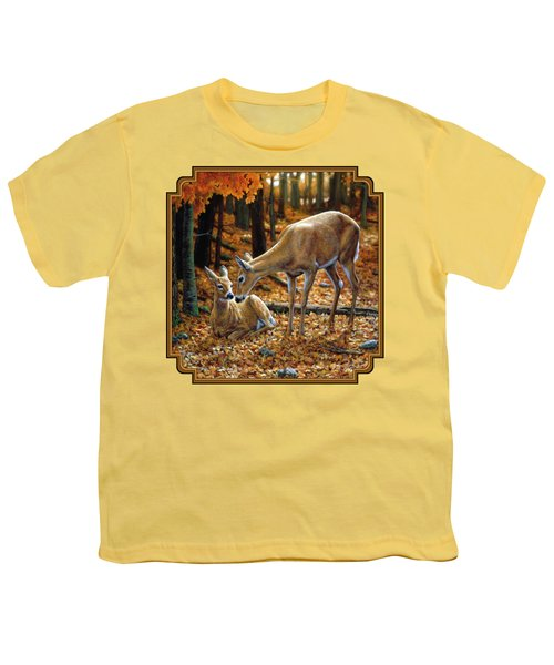 Whitetail Deer - Autumn Innocence 2 Youth T-Shirt by Crista Forest