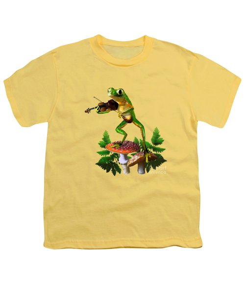 Humorous Tree Frog Playing A Fiddle Youth T-Shirt by Regina Femrite