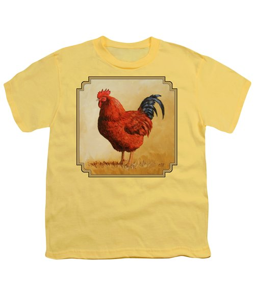 Rhode Island Red Rooster Youth T-Shirt by Crista Forest