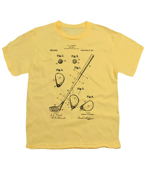 Vintage 1910 Golf Club Patent Artwork Youth T-Shirt by Nikki Marie Smith