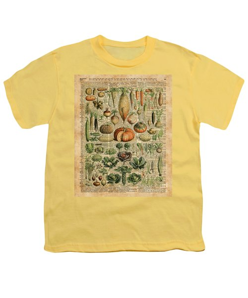 Autumn Fall Vegetables Kiche Harvest Thanksgiving Dictionary Art Vintage Cottage Chic Youth T-Shirt by Jacob Kuch