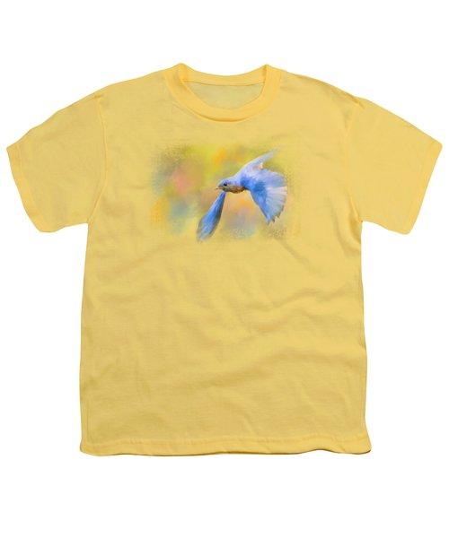 Bluebird Spring Flight Youth T-Shirt by Jai Johnson