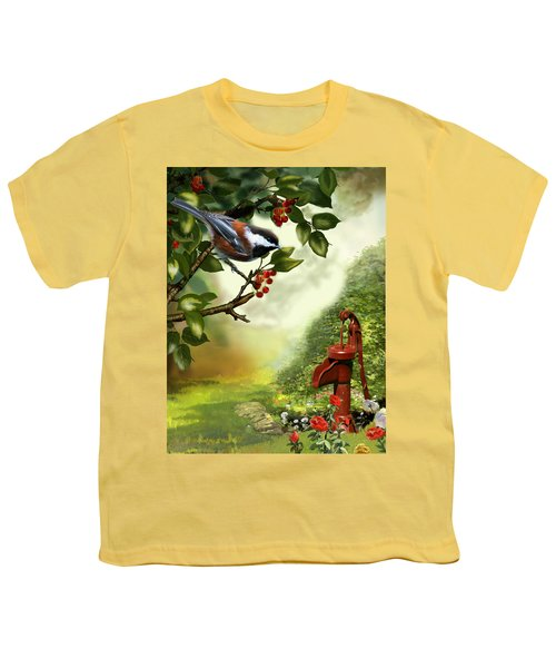 Chickadee Visiting The Water Pump Youth T-Shirt by Regina Femrite