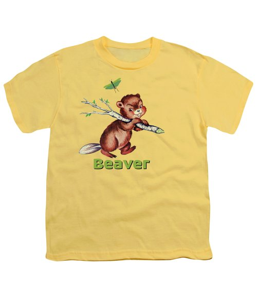 Cute Baby Beaver Pattern Youth T-Shirt by Tina Lavoie
