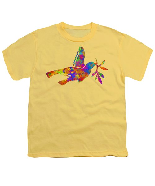 Dove With Olive Branch Youth T-Shirt by Christina Rollo