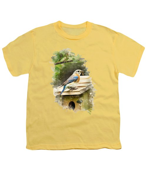 Eastern Bluebird Watercolor Art Youth T-Shirt by Christina Rollo