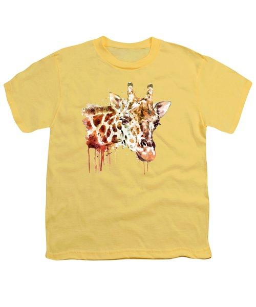 Giraffe Head Youth T-Shirt by Marian Voicu