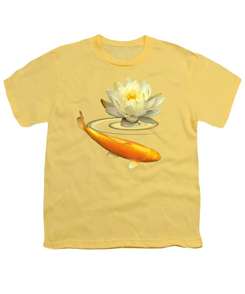 Golden Harmony - Koi Carp With Water Lily Youth T-Shirt by Gill Billington