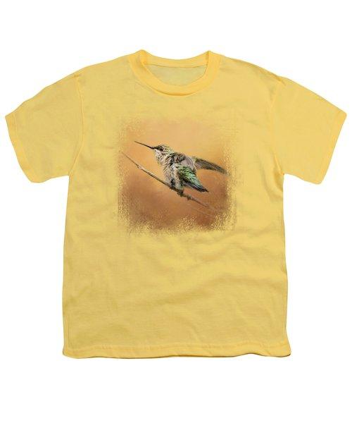 Hummingbird On Peach Youth T-Shirt by Jai Johnson