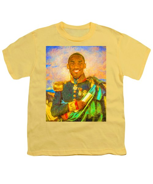 Kobe Bryant Floor General Digital Painting La Lakers Youth T-Shirt by David Haskett