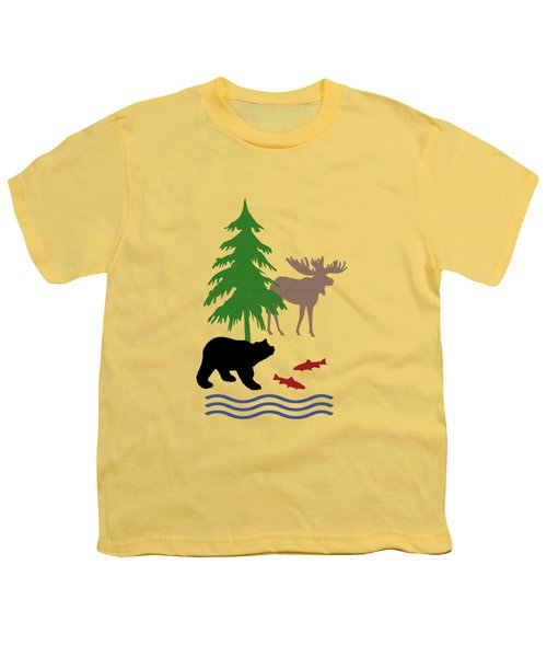 Moose And Bear Pattern Youth T-Shirt by Christina Rollo