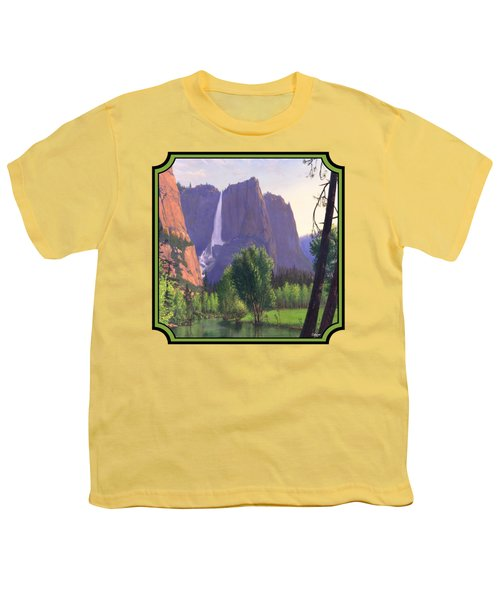 Mountains Waterfall Stream Western Landscape - Square Format Youth T-Shirt by Walt Curlee