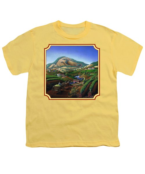 Old Wine Country Landscape Painting - Worker Delivering Grape To The Winery -square Format Image Youth T-Shirt by Walt Curlee