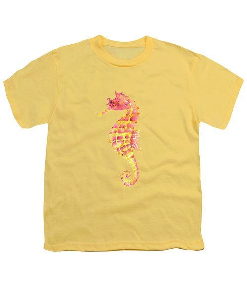 Pink Yellow Seahorse Youth T-Shirt by Amy Kirkpatrick