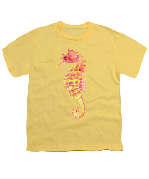 Pink Yellow Seahorse - Square Youth T-Shirt by Amy Kirkpatrick