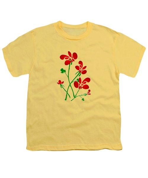 Rooster Flowers Youth T-Shirt by Anastasiya Malakhova