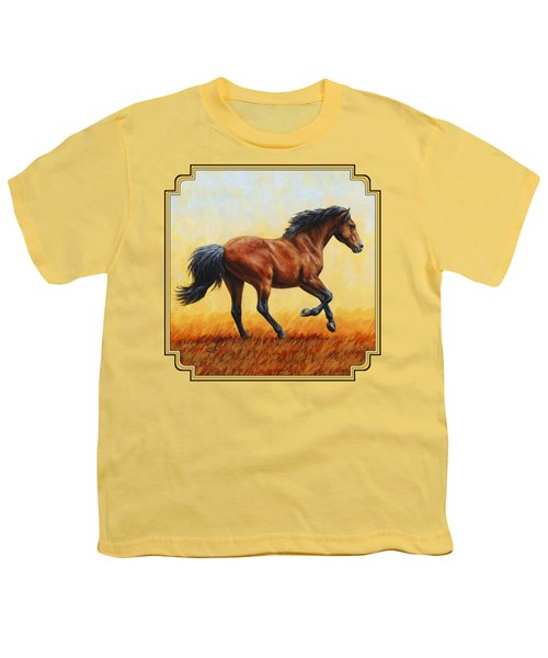 Running Horse - Evening Fire Youth T-Shirt by Crista Forest