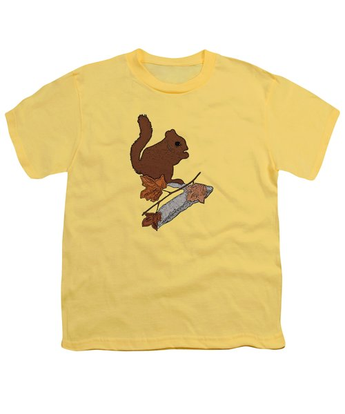Squirrel Youth T-Shirt by Priscilla Wolfe