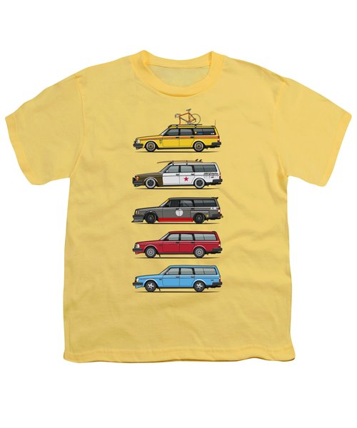Stack Of Volvo 200 Series 245 Wagons Youth T-Shirt by Monkey Crisis On Mars