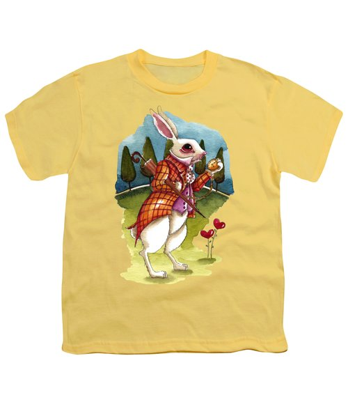 The White Rabbit Is Late Youth T-Shirt by Lucia Stewart