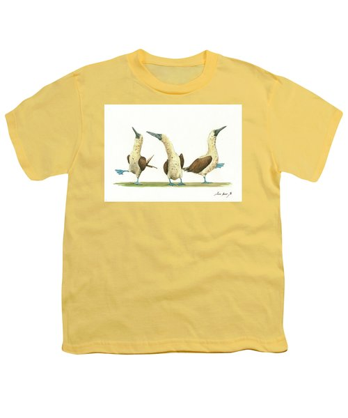 Three Blue Footed Boobies Youth T-Shirt by Juan Bosco