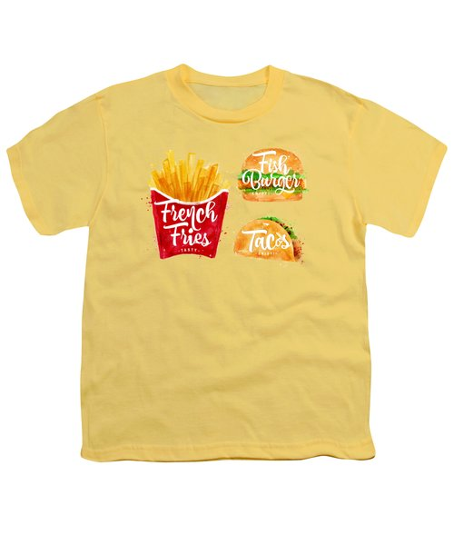 Vintage French Fries Youth T-Shirt by Aloke Design