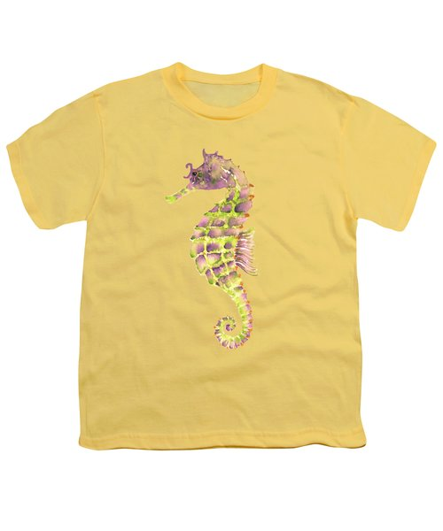 Violet Green Seahorse - Square Youth T-Shirt by Amy Kirkpatrick
