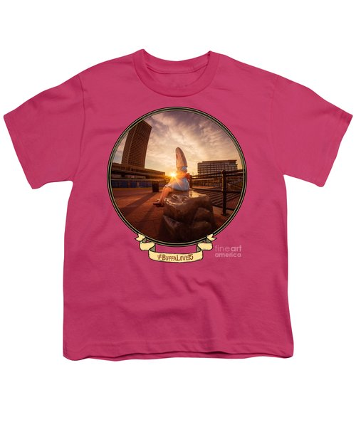 Shark Girl Dawn - Horizontal Youth T-Shirt by Chris Bordeleau