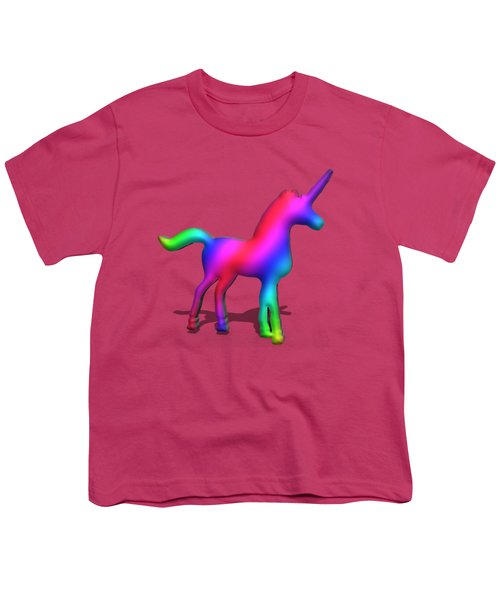 Colourful Unicorn In 3d Youth T-Shirt by Ilan Rosen