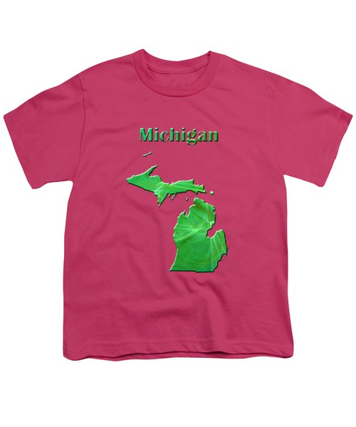 Michigan Map Youth T-Shirt by Roger Wedegis