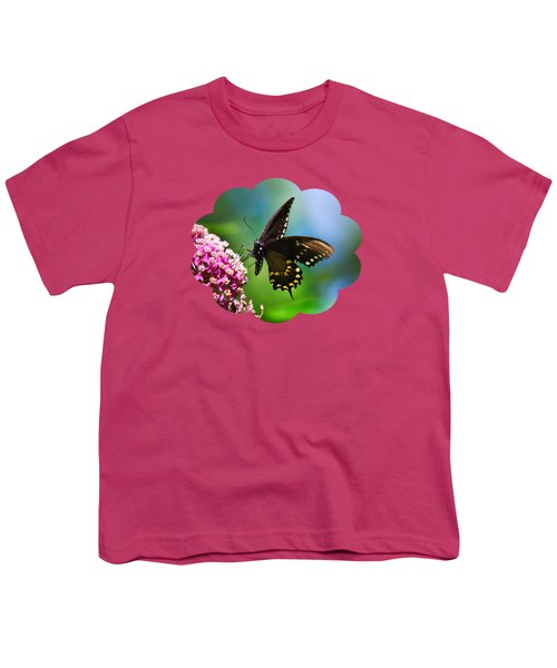Spicebush Swallowtail Butterfly On Pink Flower Youth T-Shirt by Christina Rollo