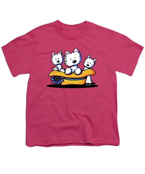 Westie Hat Trio Youth T-Shirt by Kim Niles