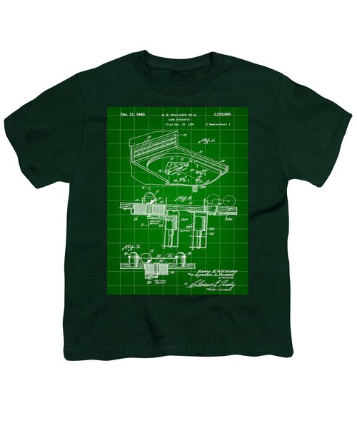 Pinball Machine Patent 1939 - Green Youth T-Shirt by Stephen Younts
