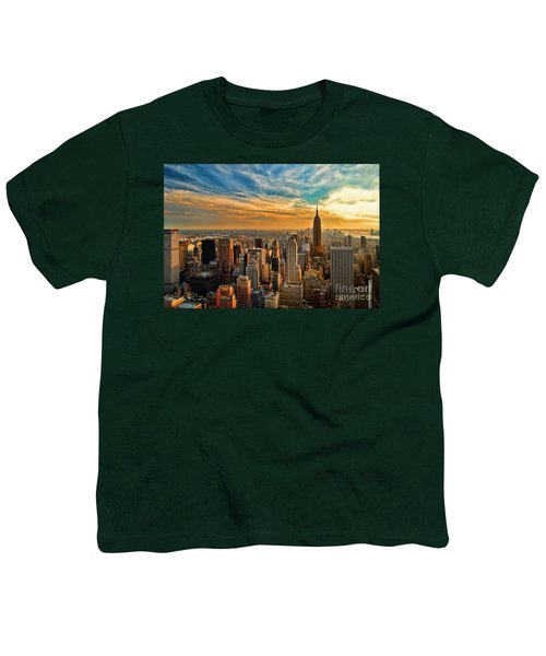 City Sunset New York City Usa Youth T-Shirt by Sabine Jacobs