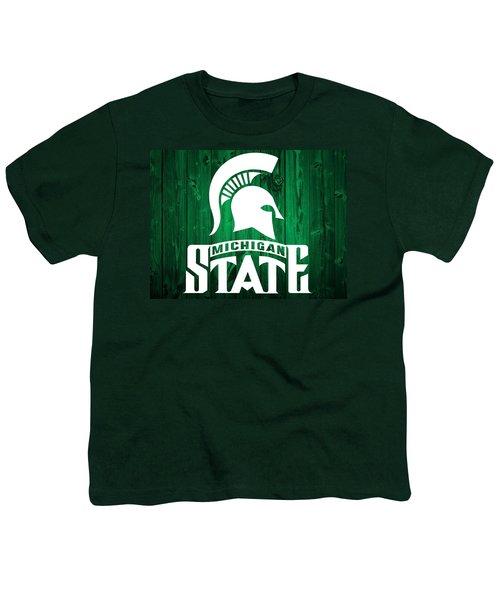 Michigan State Barn Door Youth T-Shirt by Dan Sproul