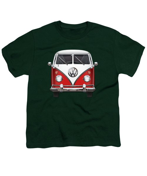 Volkswagen Type 2 - Red And White Volkswagen T 1 Samba Bus Over Green Canvas  Youth T-Shirt by Serge Averbukh