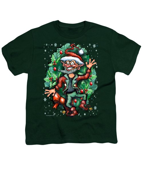 Christmas Elf Youth T-Shirt by Kevin Middleton