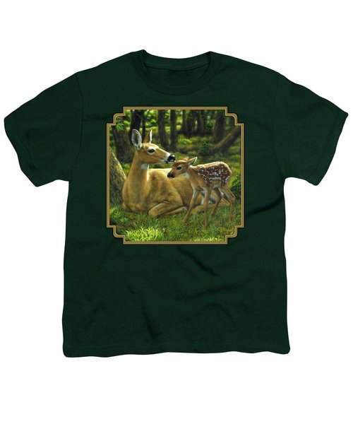 Whitetail Deer - First Spring Youth T-Shirt by Crista Forest