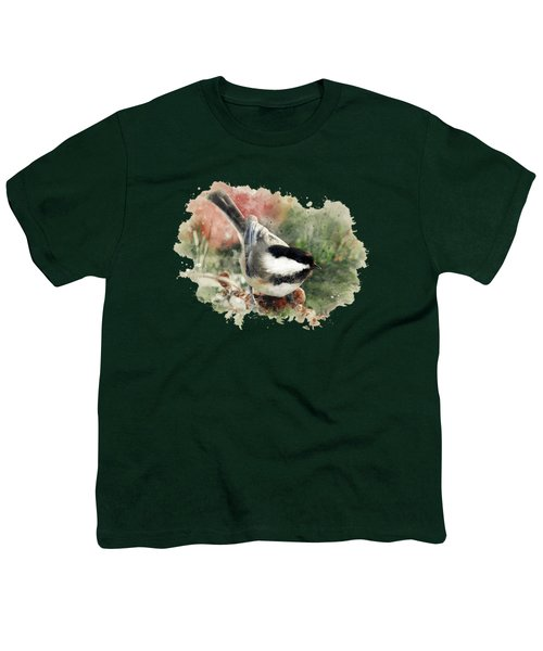 Beautiful Chickadee - Watercolor Art Youth T-Shirt by Christina Rollo