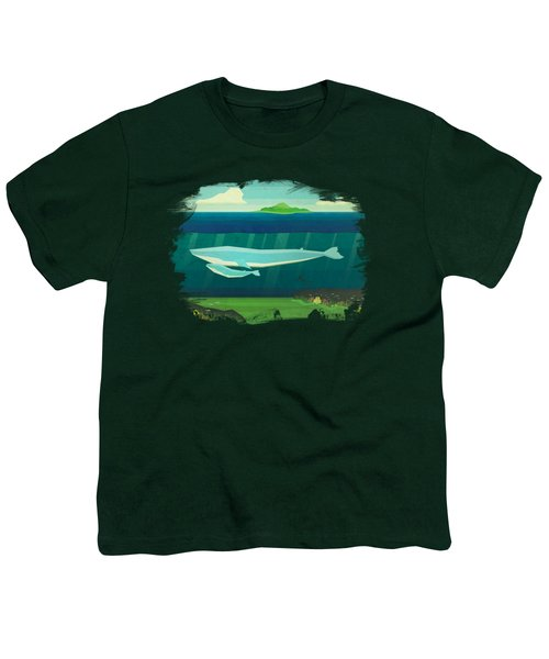 Blue Whale Youth T-Shirt by David Ardil