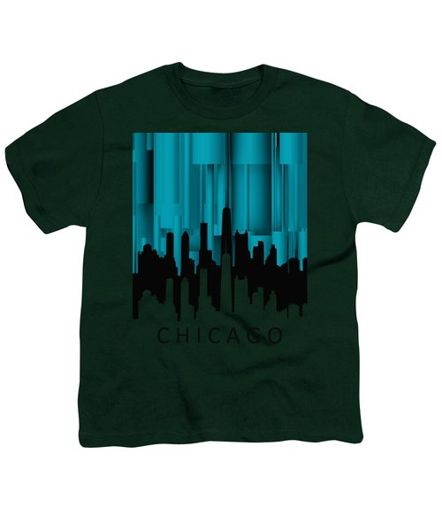 Chicago Turqoise Vertical Youth T-Shirt by Alberto RuiZ