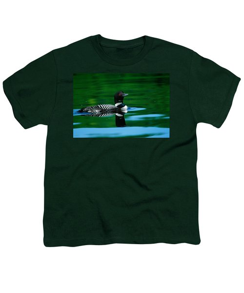 Common Loon In Water, Michigan, Usa Youth T-Shirt by Panoramic Images