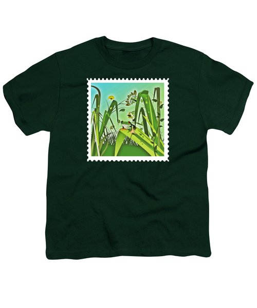 Cute Frog Camouflaged In The Garden Jungle Youth T-Shirt by Elaine Plesser