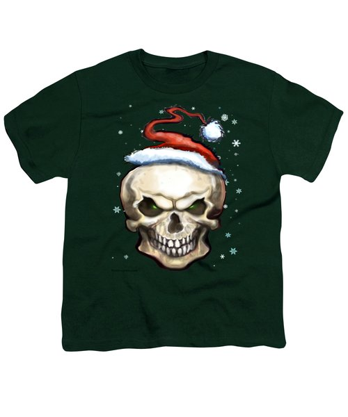 Evil Christmas Skull Youth T-Shirt by Kevin Middleton