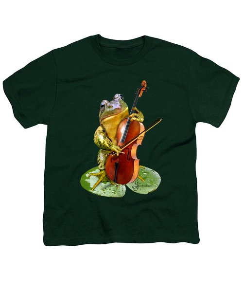 Humorous Scene Frog Playing Cello In Lily Pond Youth T-Shirt by Regina Femrite
