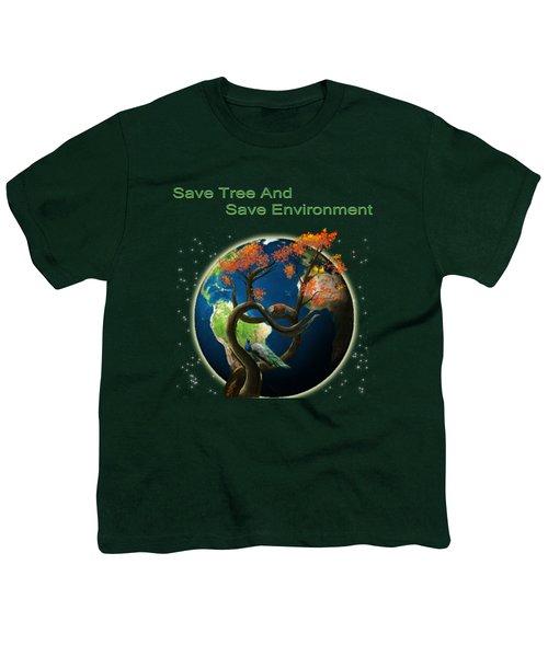 World Needs Tree Youth T-Shirt by Artist Nandika  Dutt